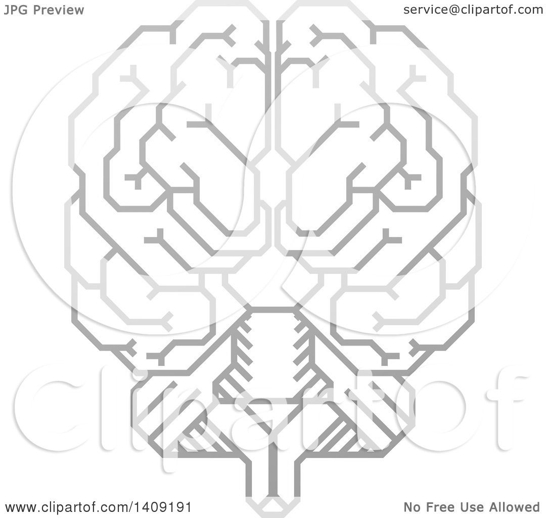 clipart of a grayscale gradient human brain with