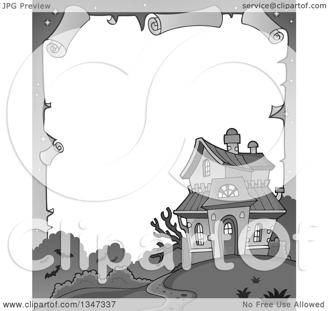 Clipart of a Grayscale Halloween Parchment Border of a Haunted ...
