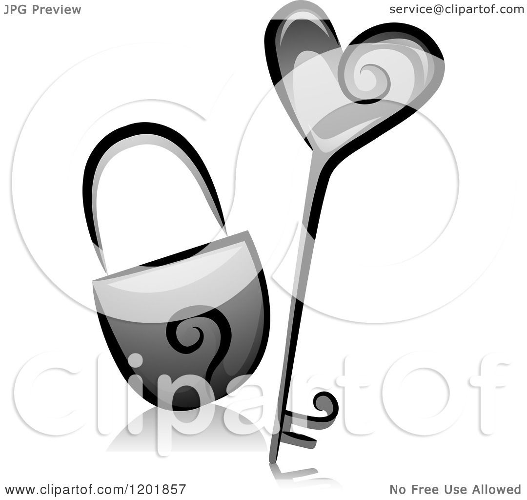 Vector Key Illustration: Clipart Of A Grayscale Heart Key And Padlock