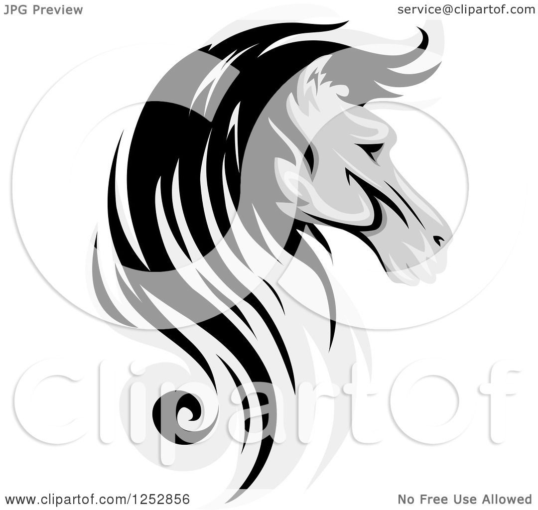 Clipart of a Grayscale Horse Head in Profile - Royalty Free Vector ...