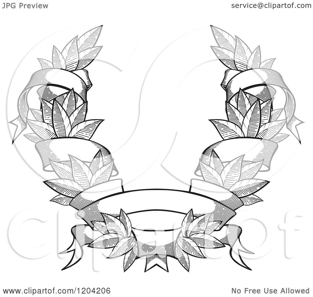 Clipart Of A Grayscale Leaf And Ribbon Wreath Coat Of Arms
