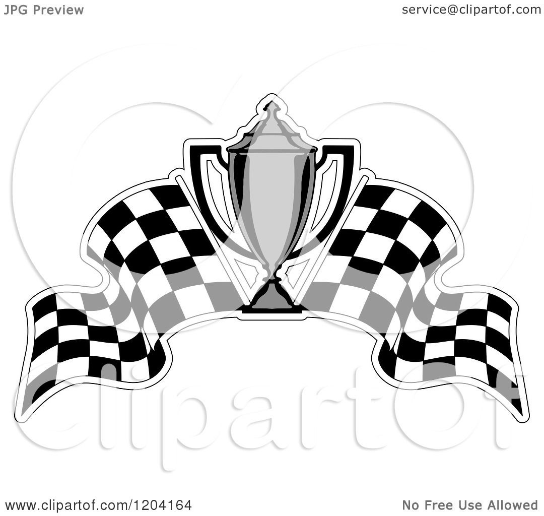 Clipart Of A Grayscale Motor Sports Trophy Cup And