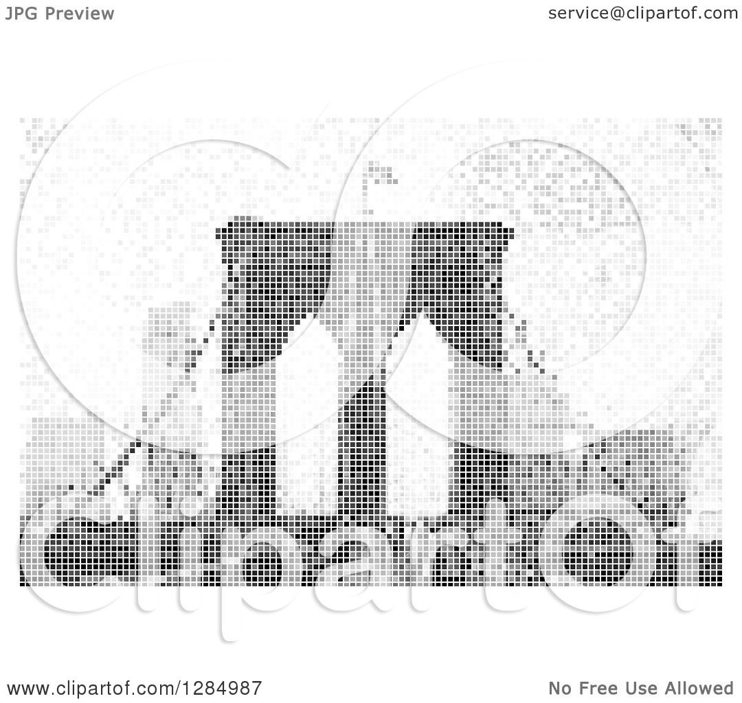 Clipart Of A Grayscale Pixel Background Of The Brooklyn