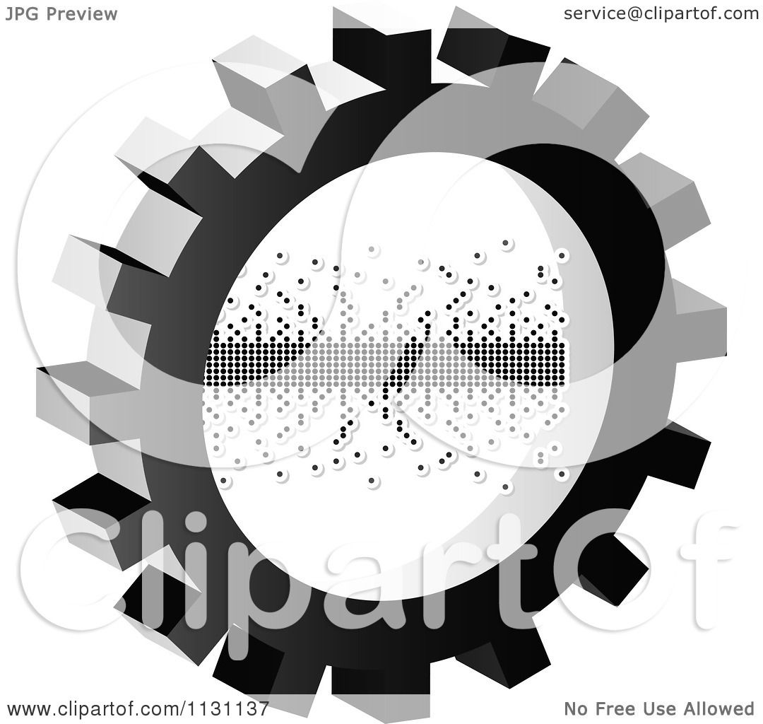 Clipart Of A Grayscale Pixel Gear Cog Icon