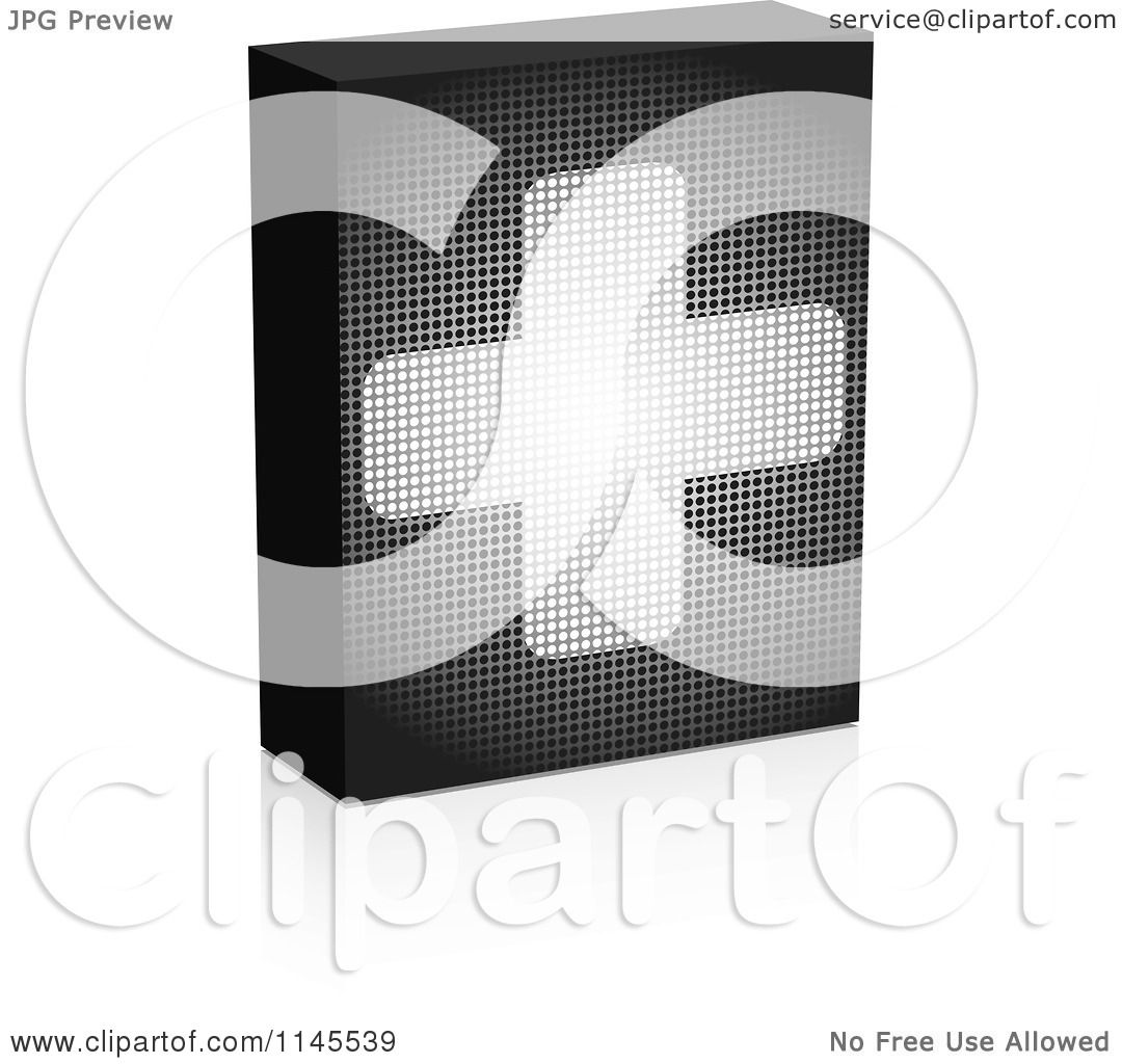 Clipart Of A Grayscale Pixelated Help Box With A Cross And