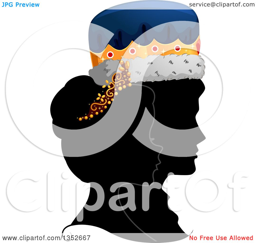 Clipart Of A Grayscale Profile Silhouette Of A King And