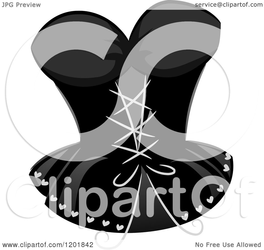 Clipart of a Grayscale Sexy Corset - Royalty Free Vector ...