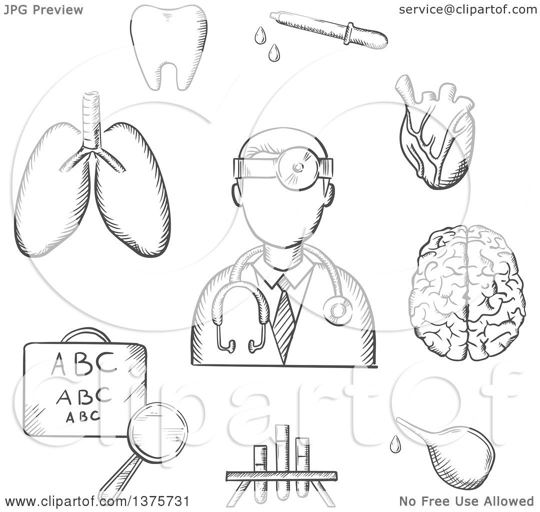 Clipart of a grayscale sketched doctor encircled by an eye chart clipart of a grayscale sketched doctor encircled by an eye chart lungs tooth eye dropper test tubes brain and heart depicting examination diagnosis geenschuldenfo Choice Image