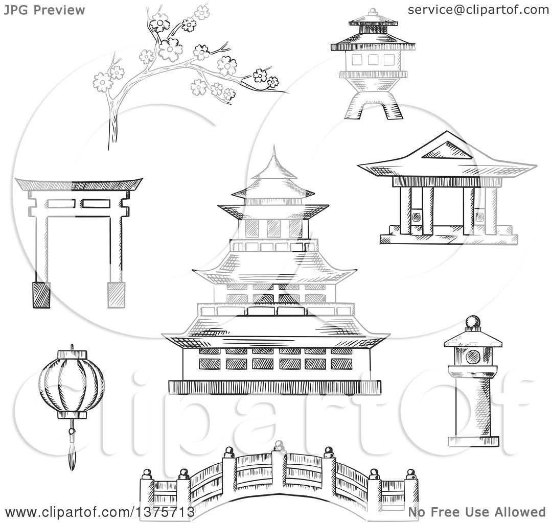 Clipart Of A Grayscale Sketched Japanese Pagoda Surrounded By Blossoming Branch Sakura Torii Gate Paper Lantern Temple And Bridge