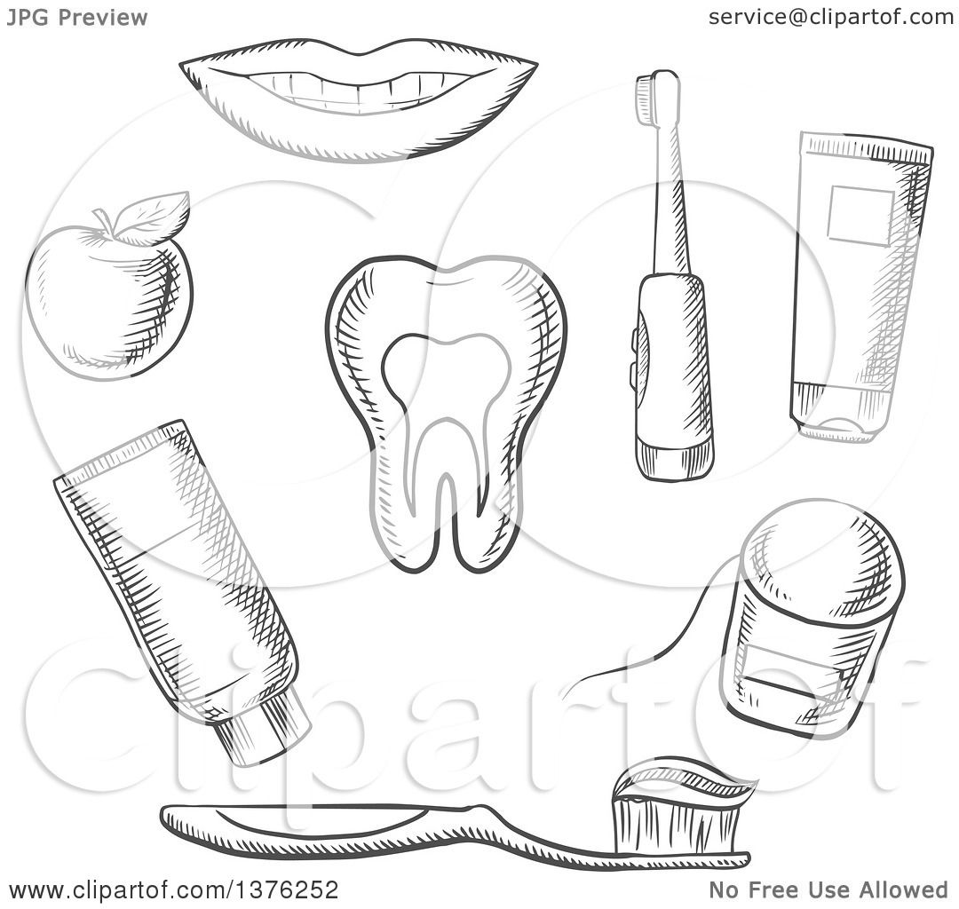 Clipart Of A Grayscale Sketched Tooth Surrounded By