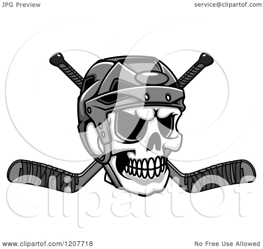 Clipart of a Grayscale Skull with