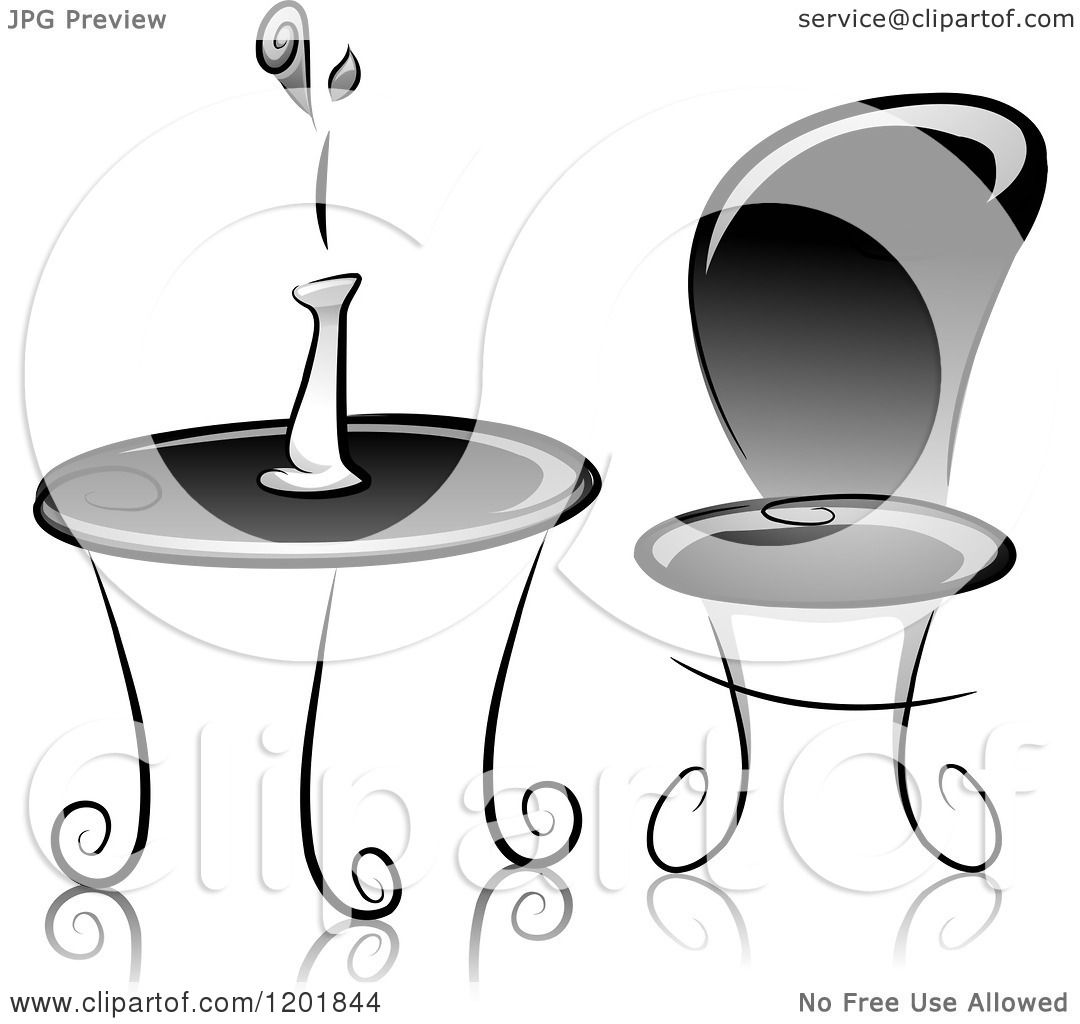 Clipart of a grayscale table and chair with a flower vase for Table design vector