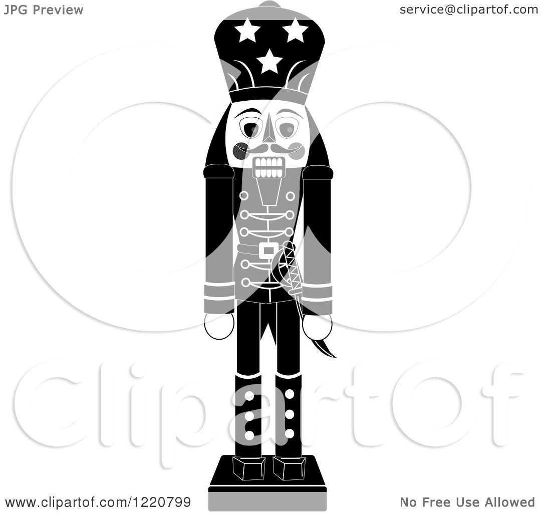 Clipart of a Grayscale Wooden Christmas Nutcracker