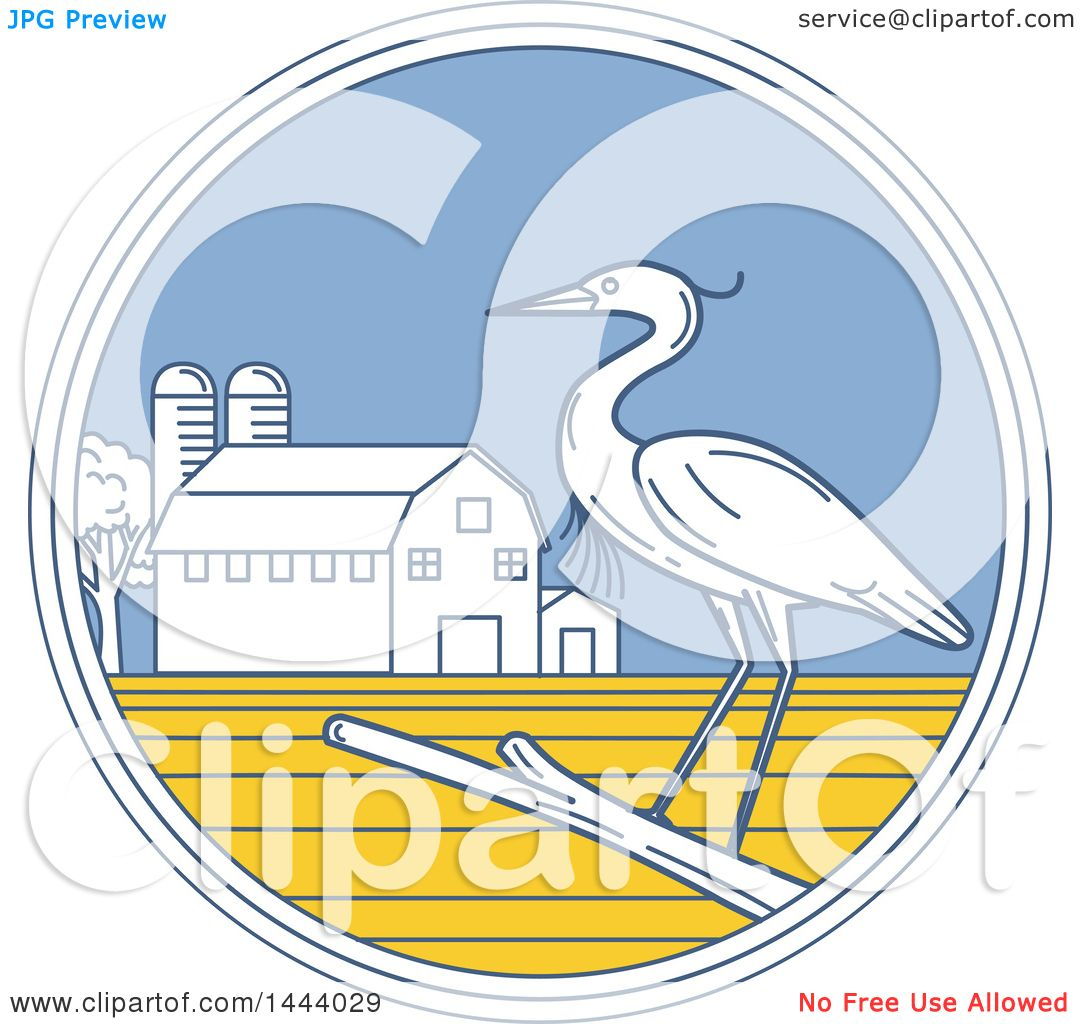 Clipart of a Great Blue Heron Bird on a Branch in a Circle with a ...