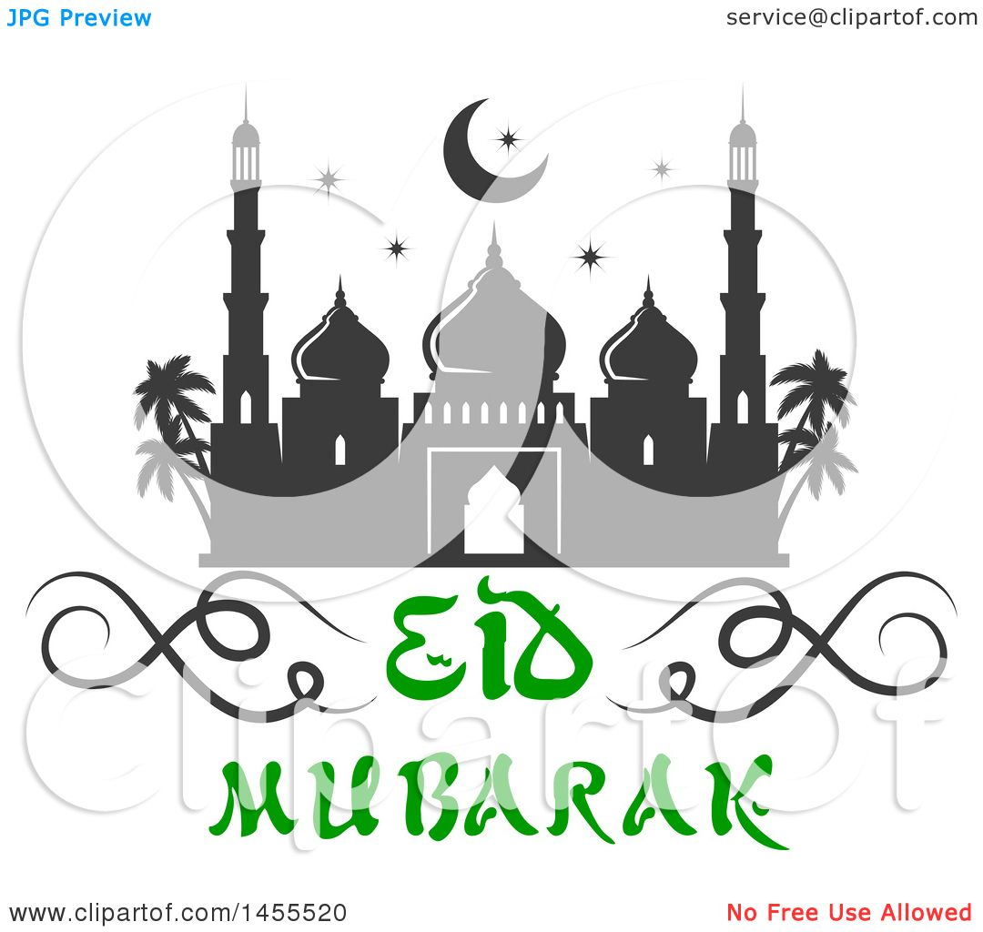 Clipart of a Green and Dark Gray Eid Mubarak Design with a ...