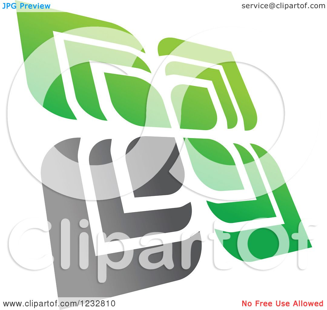 Clipart Of A Green And Gray Windmill Logo 3 Royalty Free