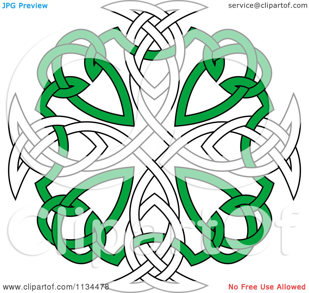 Clipart Of A Green And White Celtic Knot Cross - Royalty Free ...
