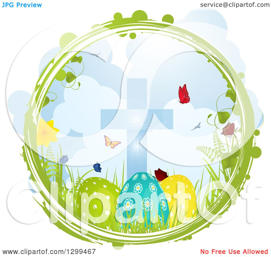 Clipart Of A Green And White Grunge Circle With Butterflies Flowers Grass Cross Easter Eggs