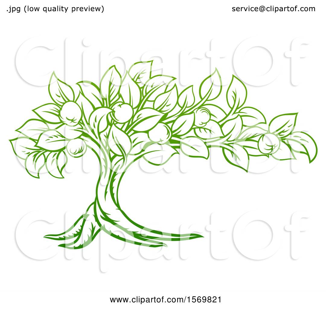 Clipart of a Green Apple Tree Design - Royalty Free Vector ...