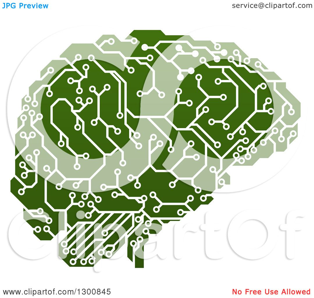 Clipart Of A Green Artificial Intelligence Circuit Board Brain Vector Illustration Royalty Free Stock Image By Atstockillustration