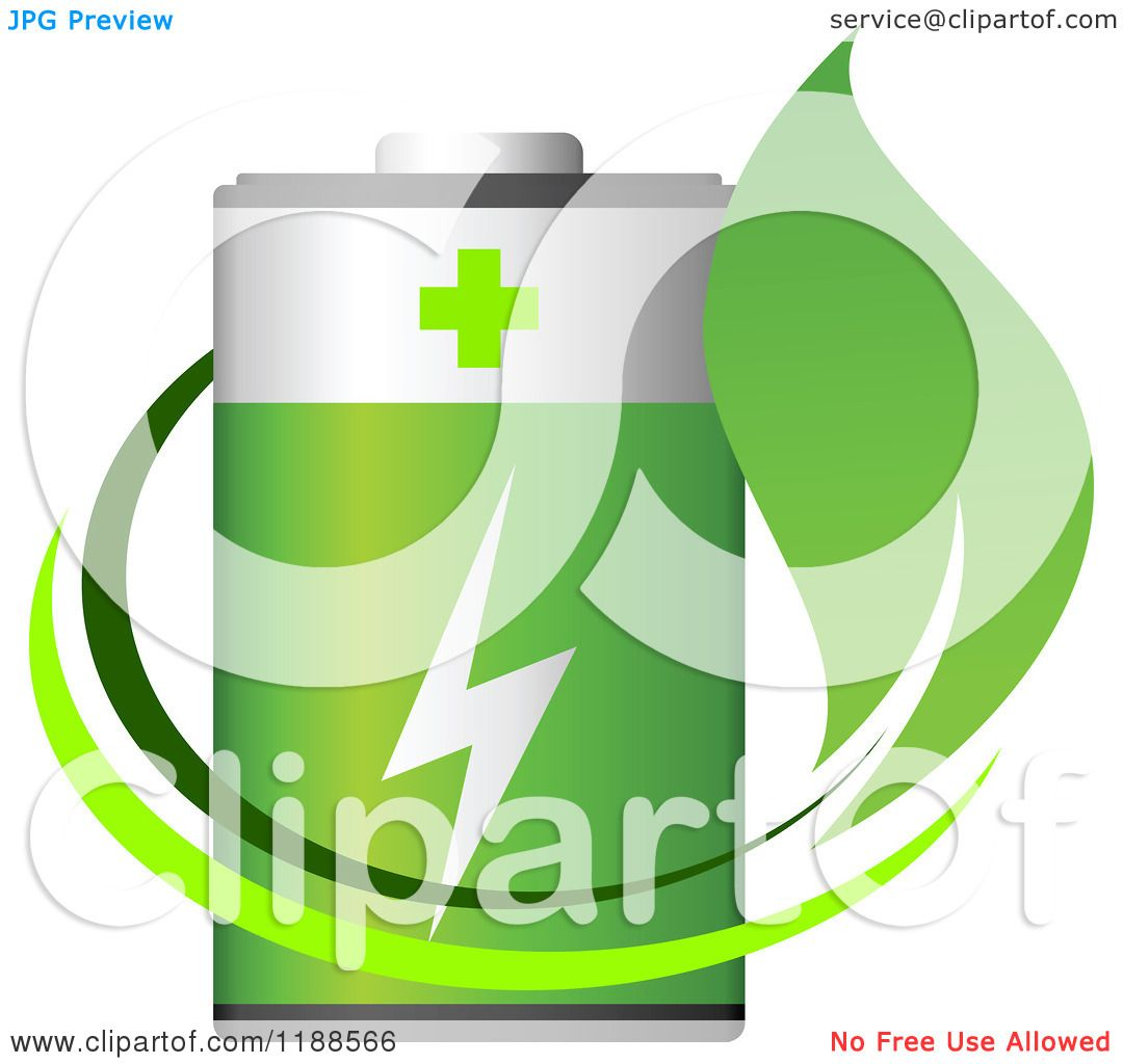 Clipart Of A Green Battery And Leaf Royalty Free Vector
