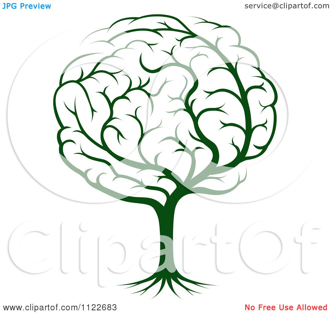Clipart Of A Green Brain Tree Royalty Free Vector