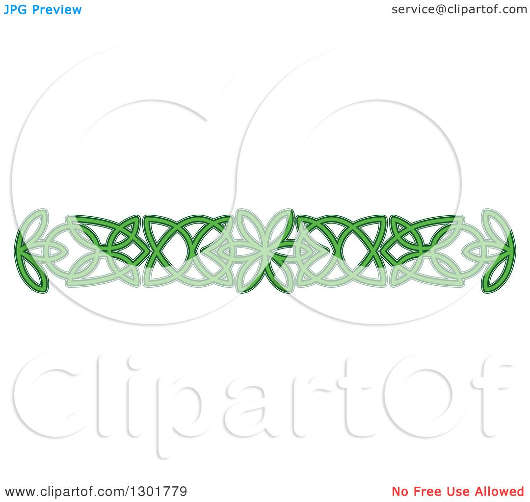 Clipart of a Green Celtic Knot Rule Border Design Element ...