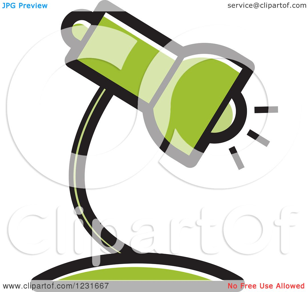 Royalty Free Desk Lamp Clip Art Vector Images: Clipart Of A Green Desk Lamp Icon