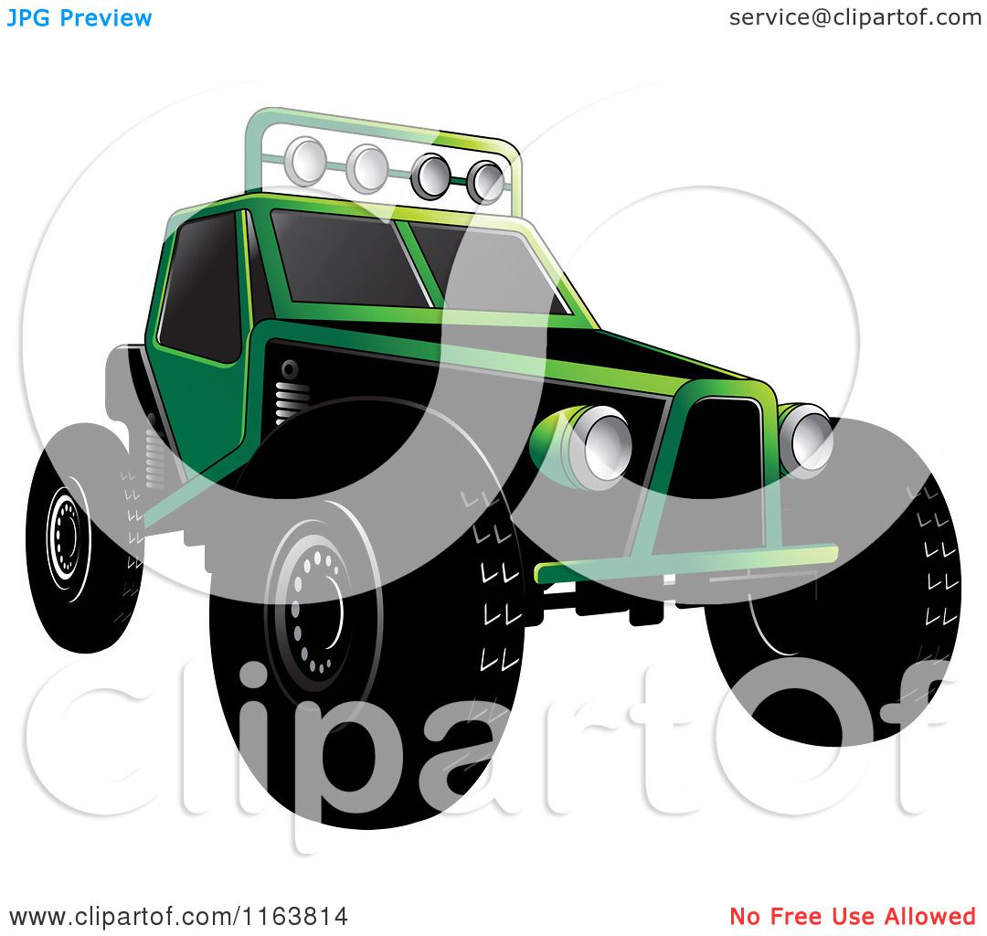 Clipart Of A Green Dune Buggy Royalty Free Vector
