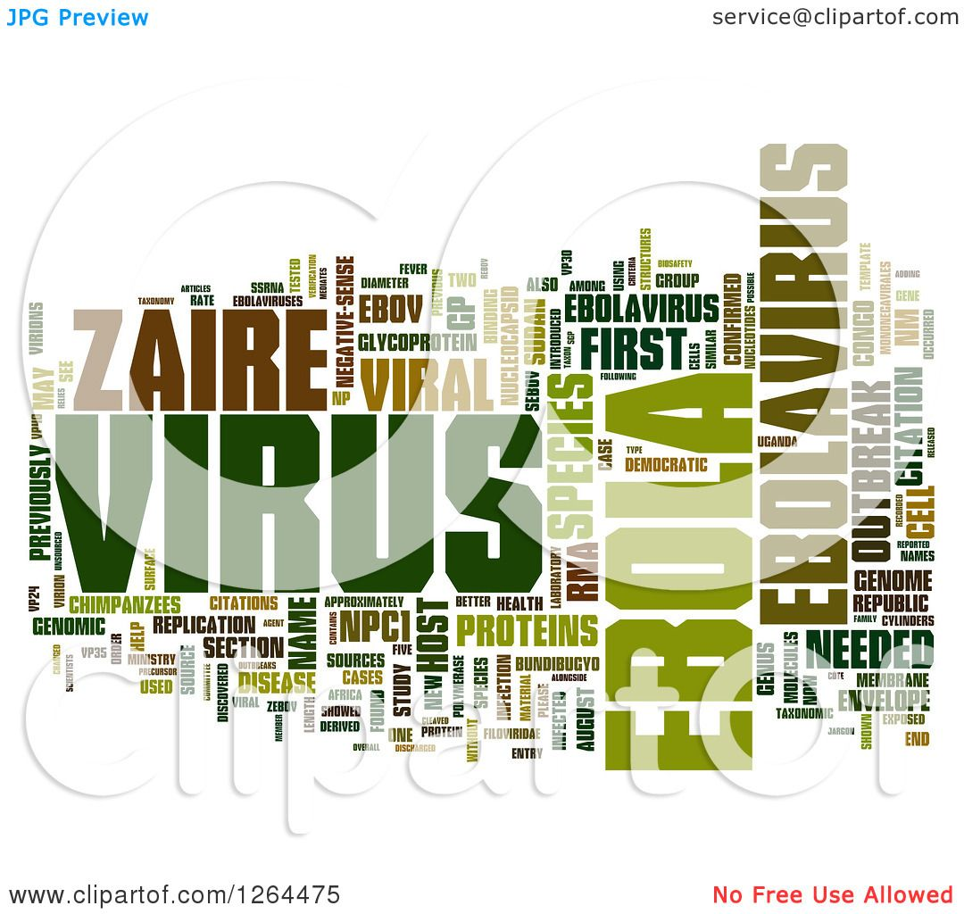 Viral Word: Clipart Of A Green Ebola Virus Word Tag Collage On White