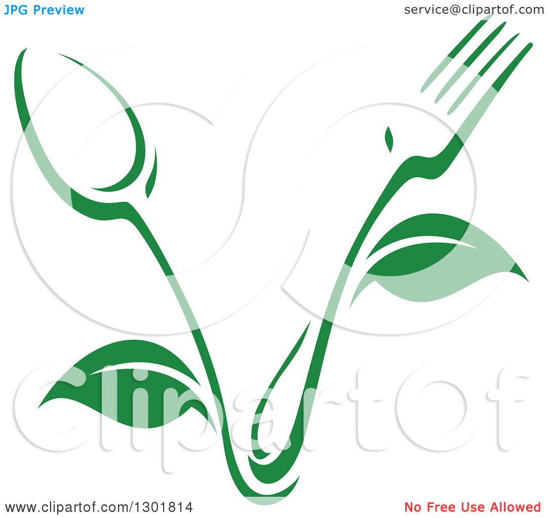 Clipart of a green fork and spoon plant vegetarian food for Free clipart animations