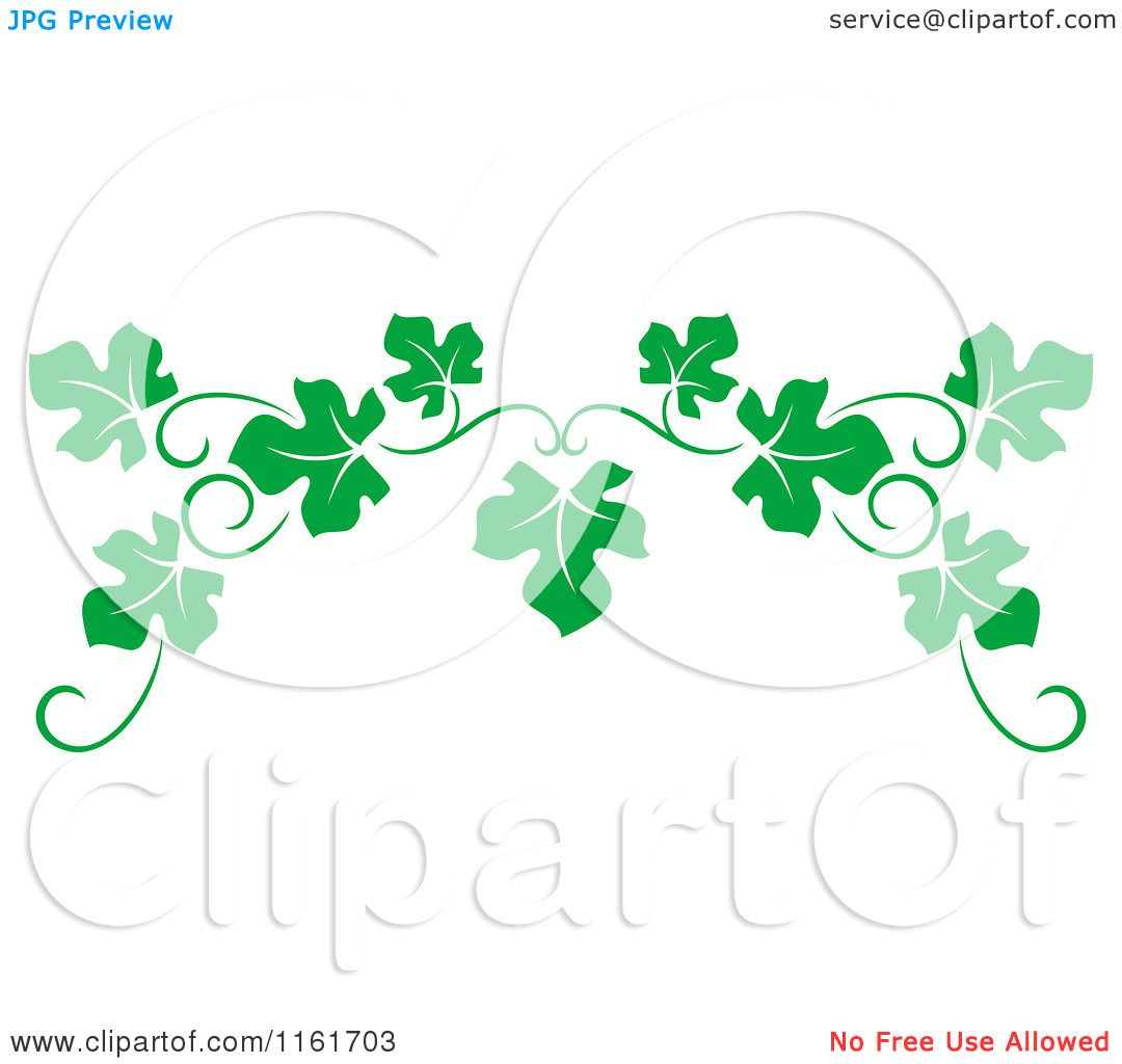 Clipart of a Green Grape Vine Page Border - Royalty Free Vector ...