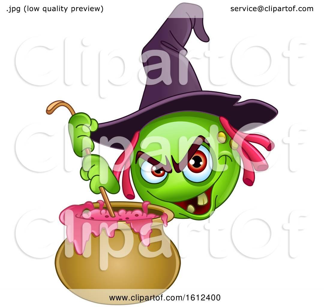 Clipart of a Green Halloween Emoji Witch Stirring a Cauldron