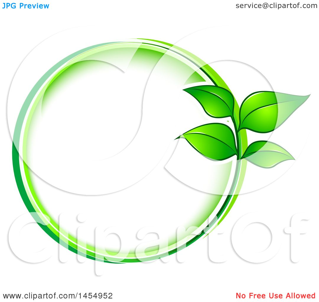 Clipart of a Green Leaf Frame Eco Design Element - Royalty Free ...