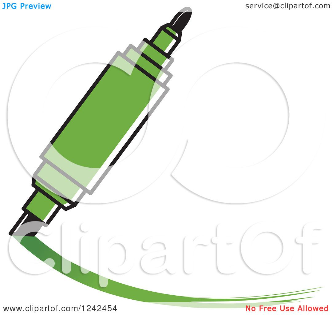 clipart of a green marker pen writing - royalty free vector