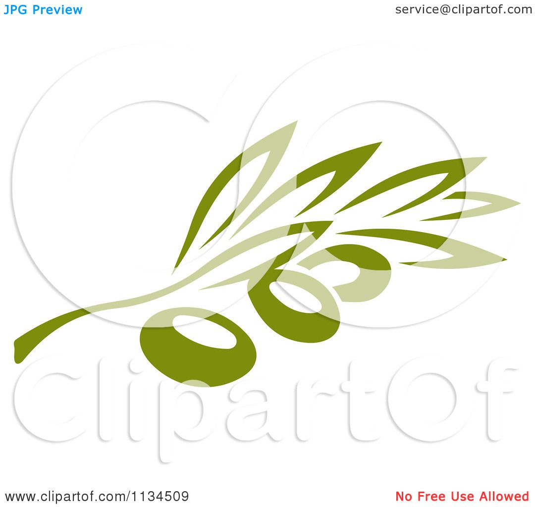 Clipart Of A Green Olive Branch 3 - Royalty Free Vector Illustration ...