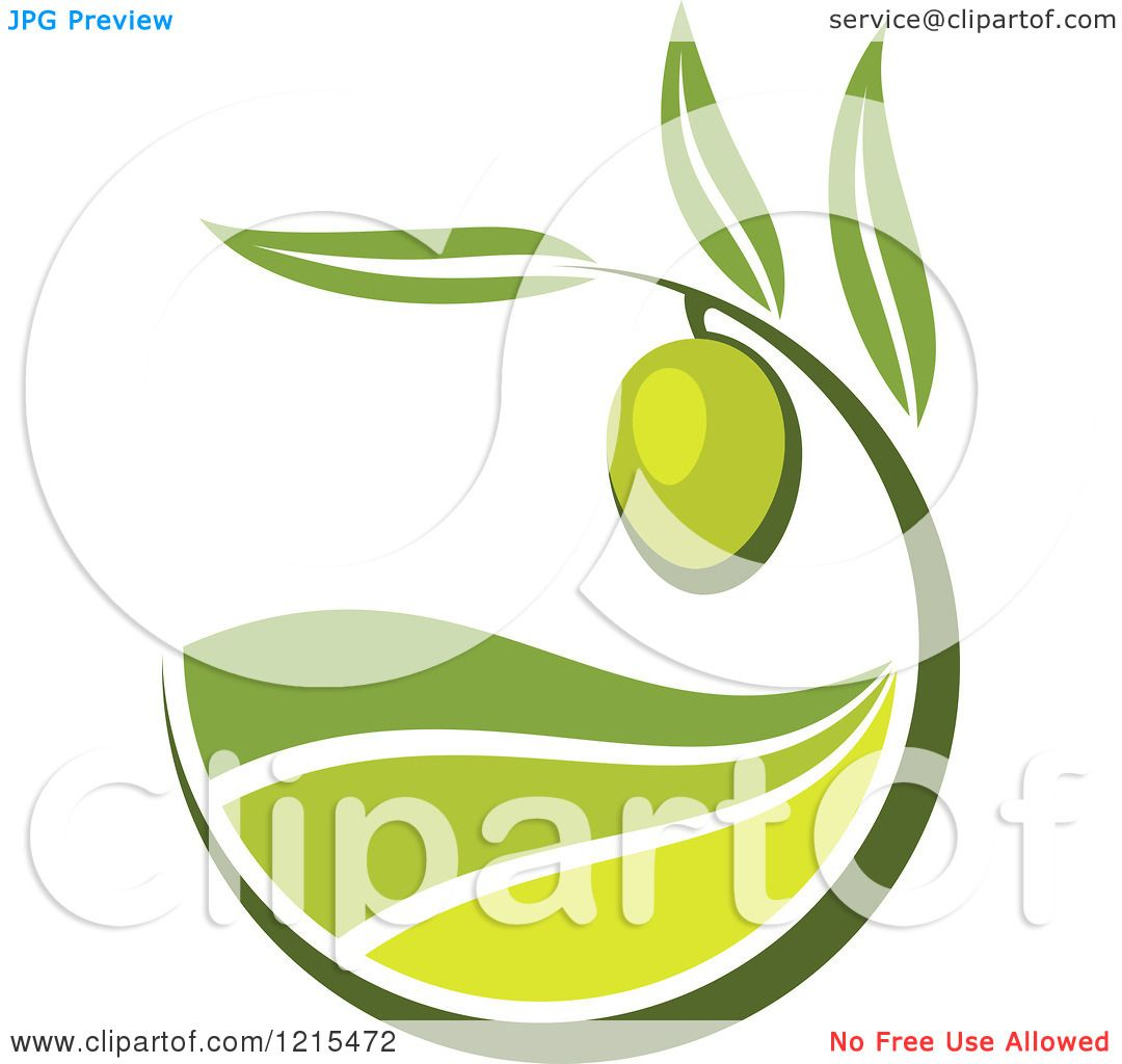 Clipart of a Green Olive with Leaves and Rolling Hills - Royalty ...