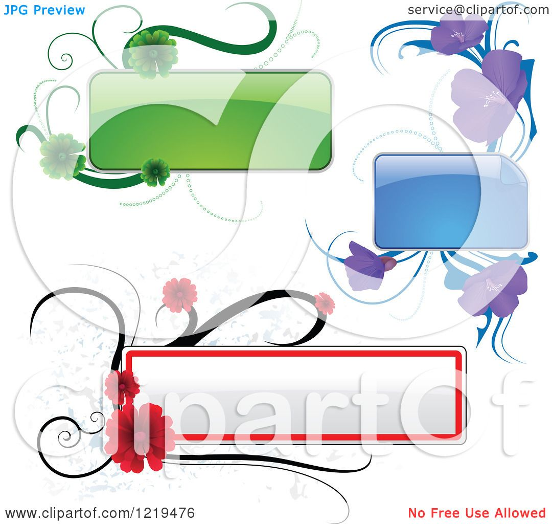 Clipart Of A Green Purple And Red Text Boxes And Flowers