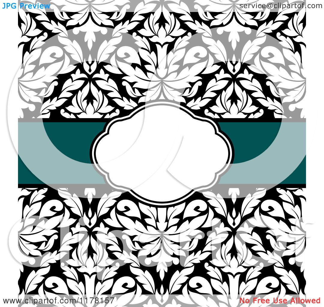 Clipart of a Green Ribbon and White Frame over Black and White ...