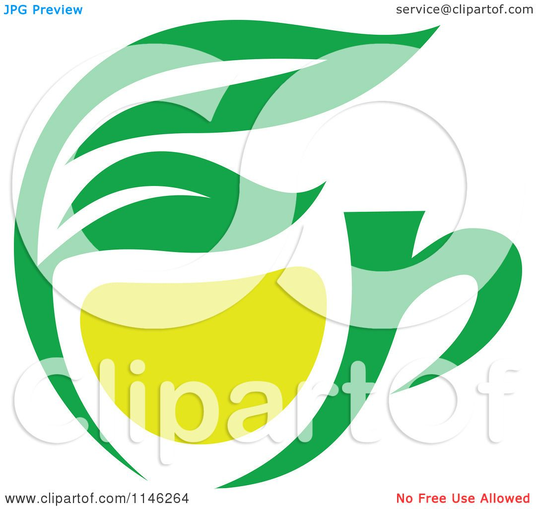 Larger preview vector clip art of a happy yellow coffee cup character - Clipart Of A Green Tea Cup With Lemon And Leaves 1 Royalty Free Vector Illustration Preview Clipart