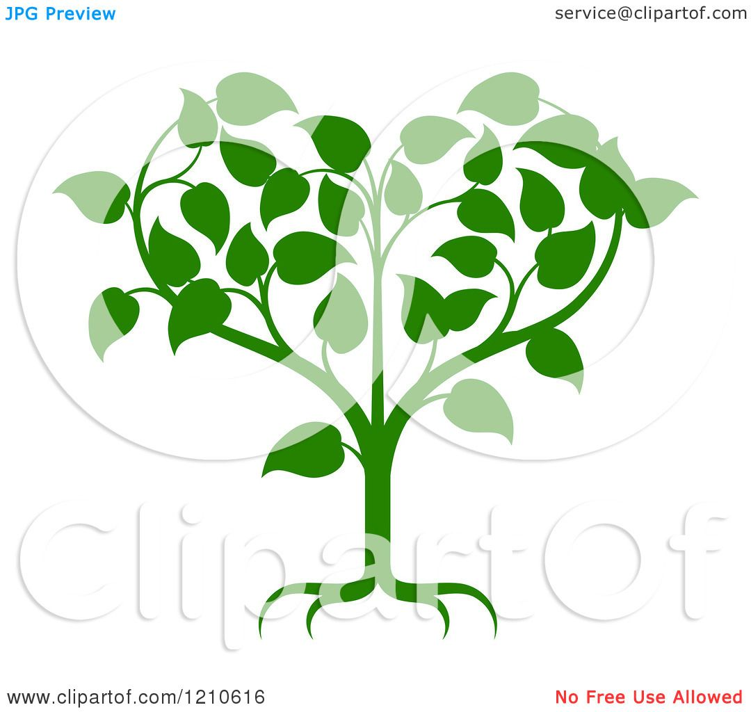 Clipart of a Green Tree Forming a Heart - Royalty Free Vector ...