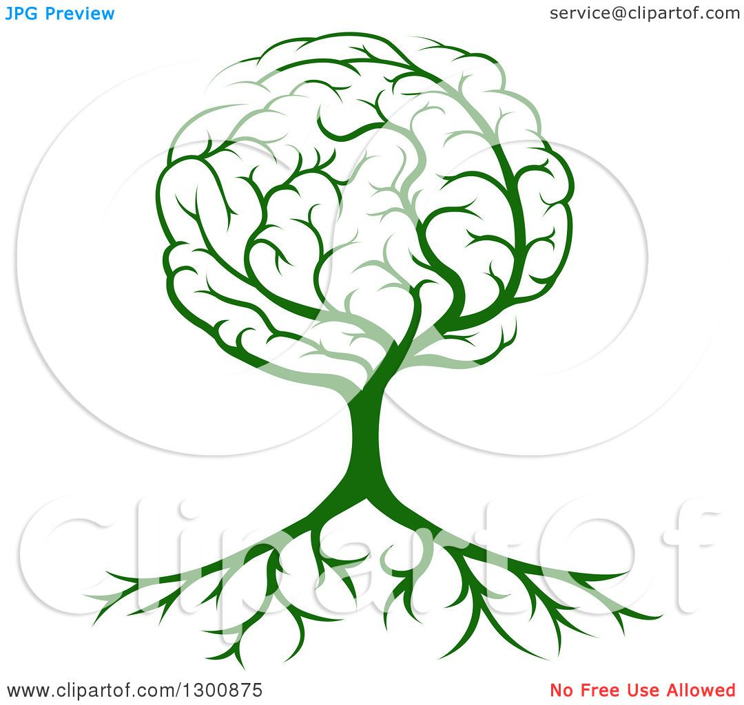 Clipart of a Green Tree with a Brain Canopy and Roots - Royalty Free ...