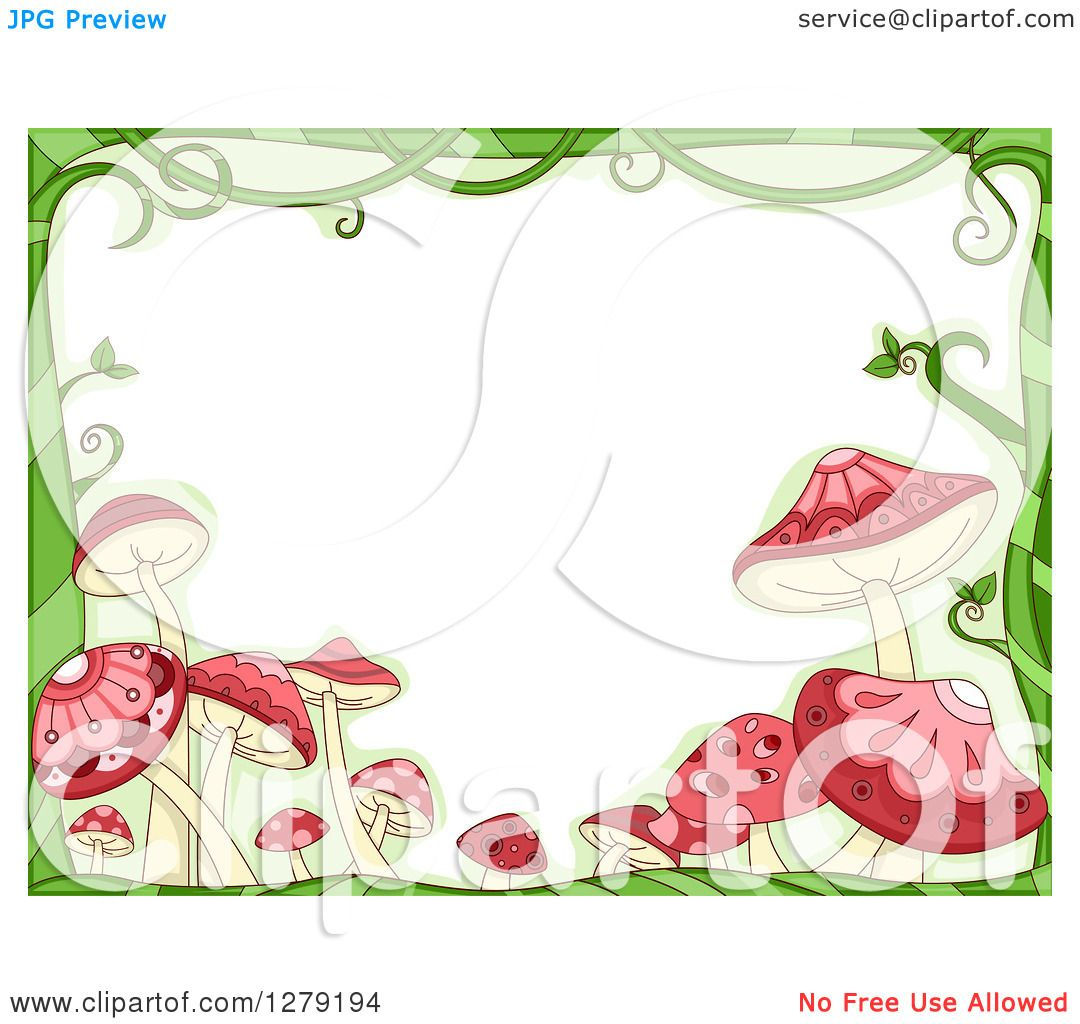 Clipart Of A Green Vine And Pink Mushroom Border Around