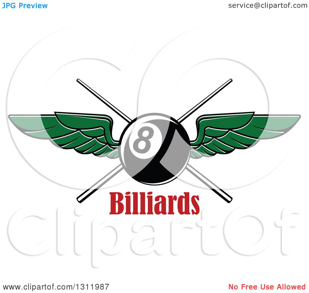 Clipart Of A Green Winged Eightball Over Crossed Cue