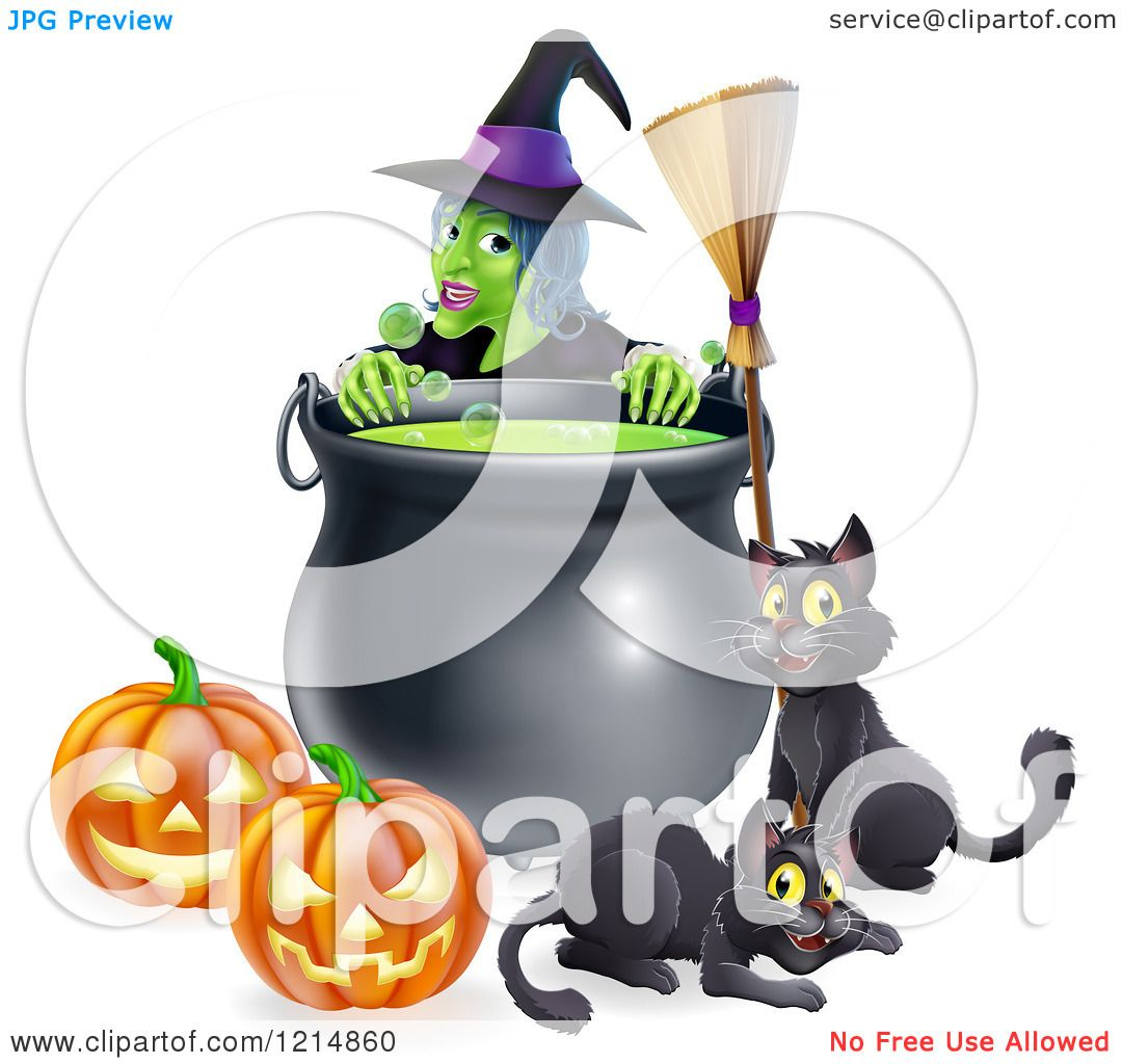 Clipart of a Green Witch over a