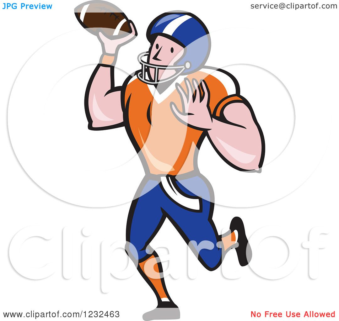 Clipart Of A Gridiron American Football Player Throwing Royalty