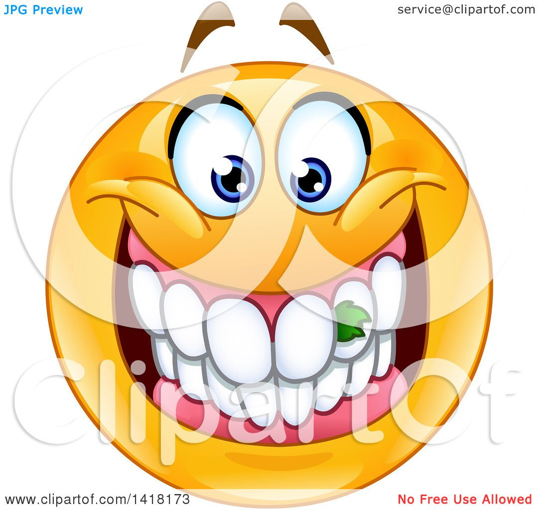 clipart of a grinning emoji smiley face with food stuck in his teeth rh clipartof com Division Sign Clip Art Animated Smiley Teeth