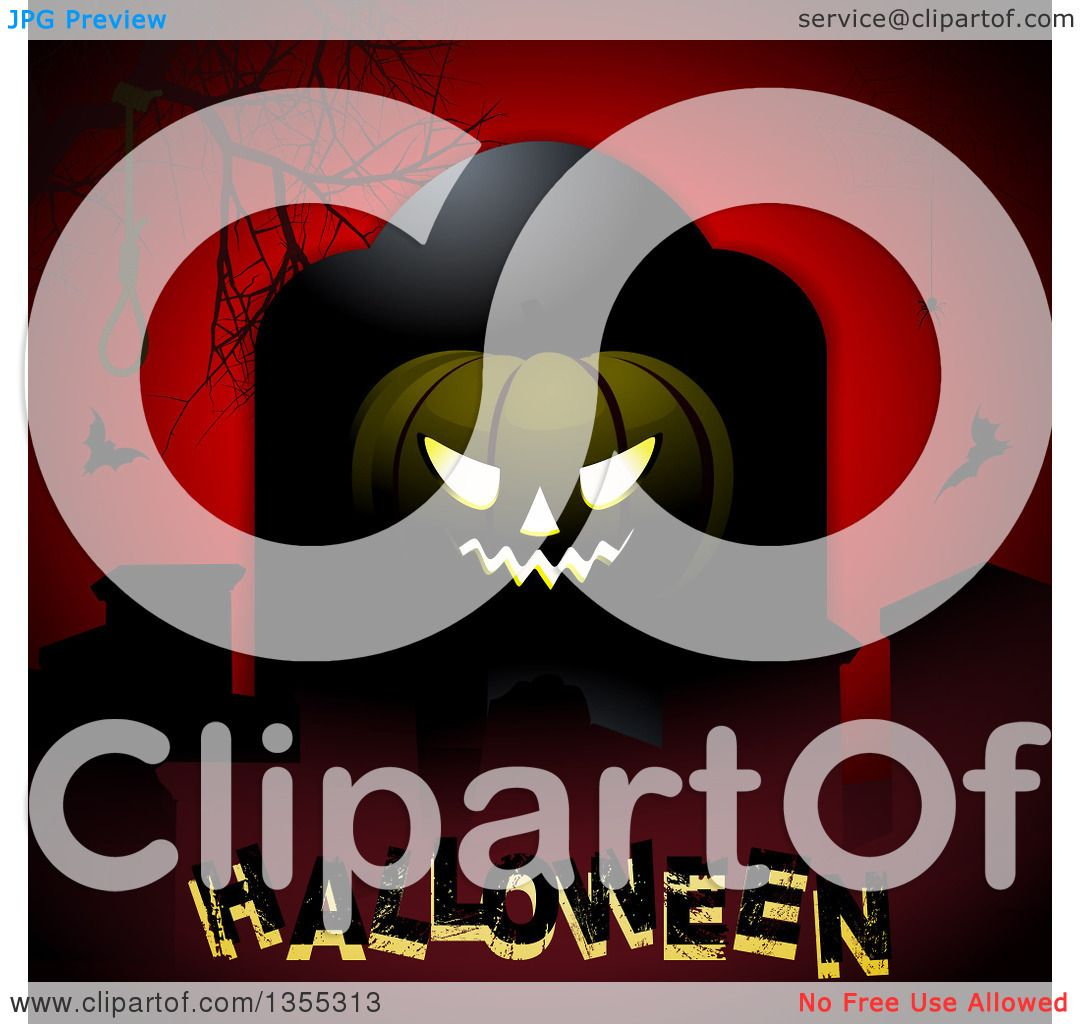 Clipart Of A Grinning Jackolantern Pumpkin Against A Tombstone With