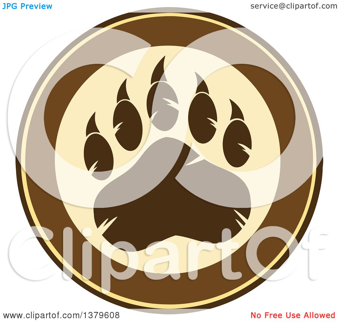 Clipart of a Grizzly Bear Paw on