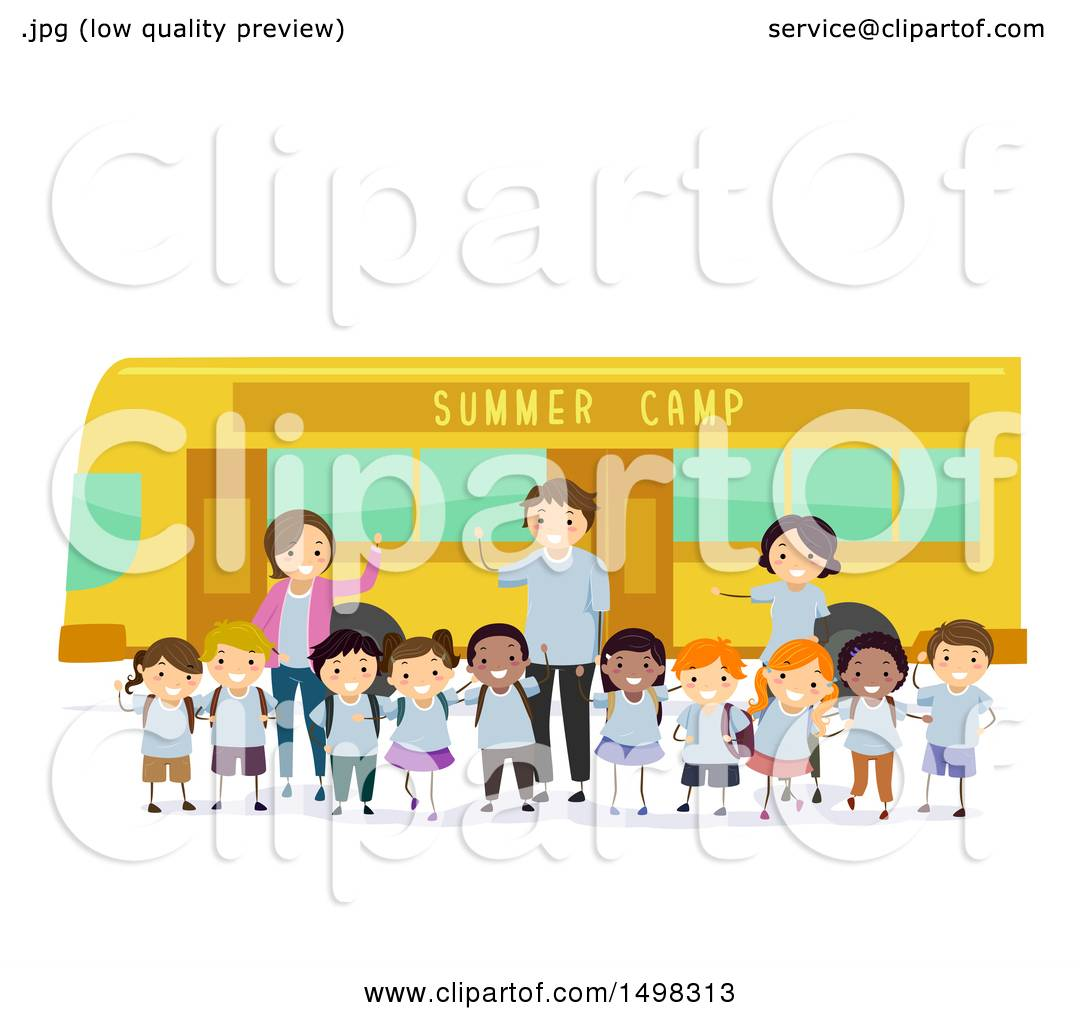 Clipart Of A Group Of Adults And Children By A Summer Camp